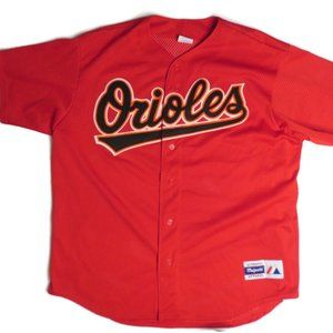 Baltimore Orioles Mens XL Red Jersey Majestic VTG